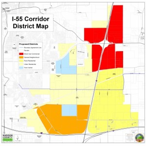 I-55 District Corridor Map, revised Feb. 19, 2015. Courtesy of the Madison County Planning and Development Department