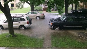 Seek higher ground if your vehicle stalls in a flooded area; do not attempt to push your vehicle out of the water