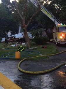 : Fire officials are looking into the cause of an explosion that blew apart a home in Caseyville, Ill. on Saturday, July 25. (Photo: KTVI Fox 2 News)
