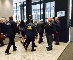 Former Speaker of the U.S. House John Dennis Hastert leaving the Dirksen Federal Building after pleading guilty Wednesday. Photo by Bill Dwyer