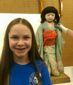 """A book about Japanese Friendship Dolls, which Megan Lowe read in sixth grade, inspired her to write the story, which will appear in a leading print magazine for children, """"Stone Soup."""" (Photo by Adela Crandell Durkee/for Chronicle Media)"""