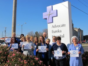 Associates at Advocate Eureka Hospital in Eureka wore blue to acknowledge World Diabetes Day, held annually on Nov. 14.Pictured (front row l to r): Jackie Holmes, Judy Feazel, Jane McCully, Anna Laible, Lexie Weber, Debbie Brown, Joanie Montoya, and Judi Tammen; (back row l to r): Lori Gudat, Eileen Riddle, Rhonda Payne, Brian Wettstein, Brenda Musgrave. (Photo courtesy of Advocate Eureka Hospital)