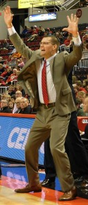 An energetic head coach Brian Wardle works the Carver Arena sidelines, shouting instructions and directing traffic during a Braves game. (Chronicle photo).