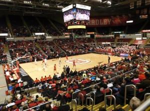 An overview of the Carver Arena court as Bradley took on Maryville earlier this month.