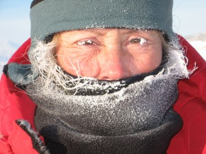 Ice clings to Betty Trummel's eyelashes, during a trip to Antarctica. (Betty Trummel photo)