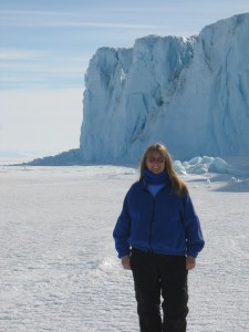 Betty Trummel standing near Barne Glacier in Antarctica. (Betty Trummel photo)