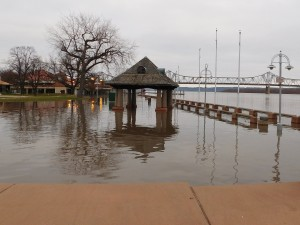 The river crested Sunday at 26.4 feet, according to the National Weather Service. Flood stage is 18 feet. (Chronicle Media photo)