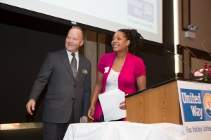 The 2015 Fox Valley United Way volunteer of the year award was bestowed on Community Volunteer and SPARK Parent Council member Latricia Stone.  The Fox Valley United Way announced last week it was merging with the United Way of Central Kane County. (Photo courtesy of Fox Valley United Way)