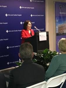 Illinois Lt. Gov. Evelyn Sanguinetti speaks at the opening dedication of the Advocate Eureka Hospital addition on Jan. 14.
