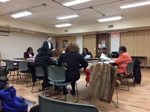 Bellwood library board of trustees meet Feb. 10. (Photo by Jean Lotus/Chronicle Media)