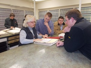 Young Leaders learn about land ownership at the Tazewell County Recorder of Deeds office. (Photo courtesy Tazewell County Young Leaders)