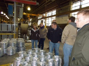 Tazewell and Peoria County Young Leader Committee members tour Keystone Steel and Wire Company in Bartonville. (Photo courtesy Tazewell County Young Leaders)
