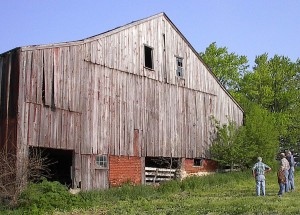 The nonprofit group Brainstorming is spearheading a project to deconstruct and rebuild this historic barn, which was built by Caleb Davidson in 1838 in what is now rural Eureka. If enough money is raised, the restored barn will become a community center in Lake Eureka Park. (Photo courtesy of Steve Colburn/Barnstorming)