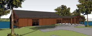 : A computer-generated model shows what a new Eureka community center on the shore of Lake Eureka might look like after it is built from a deconstructed 176-year-old barn that was visited many times by Abraham Lincoln when he practiced law in Springfield. (Photo courtesy of Steve Colburn/Barnstorming)