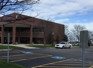 A Morton College squad car is parked in front of the gym building at the Cicero community college. (Photo by Jean Lotus/Chronicle Media)