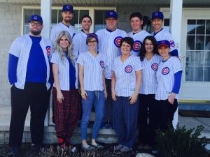 A photo of Ben Zobrist, parents Tom and Cindi Zobrist, wife Julianna and his four siblings and their spouses all bedecked in Cubs pinstripes would have been inconceivable five years ago. (Photo courtesy of Tom Zobrist)
