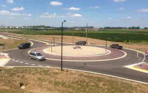 Maryville hopes to begin construction of the village's second roundabout next year on Keebler Road. The first, shown above is on Lakeview Drive. (Photo courtesy Juneau Associates)