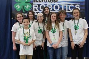 Herrick Middle School in Downers Grove was named champion and top table performance score in the level 1 category at the Illinois 4-H Robotics Competition. (Photo courtesy University of Illinois Extension)