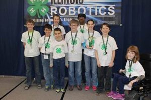 Trinity Trailblazers in Elmhurst earned the champion and high table score in the level 2 category at the Illinois 4-H Robotics Competition. (Photo courtesy University of Illinois Extension)