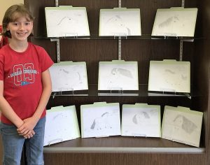 """Sierra Ausfahl stands by the pencil sketches she has made to accompany her story of """"Equinerica"""", a book she is writing. The sketches are on display at the Metamora District Library."""