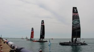 Sailboats get set for the start of the race of the Louis Vuitton America's Cup World Series on June 12 off Navy Pier. (Photo by Nick Hanson/for Chronicle Media)