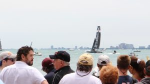 Spectators get a great view of the races from Navy Pier. (Photo by Nick Hanson/for Chronicle Media)