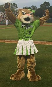 The Kane County Cougars new mascot, Annie T. Cougar, is a sibling to longtime mascot Ozzie.
