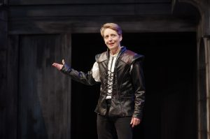 """Deborah Staples is playing the lead role in Illinois Shakespeare Festival's production of  """"Hamlet.""""  Men played women's roles in Shakespeare's time so ISF artistic director Kevin Rich says why not a women playing Hamlet.  (Photo courtesy Illinois Shakespeare Festival)"""