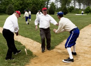OLDBASE - Independants(cq) Roger Naylor is out at home by Waukesha Diamonds Paul Brady during an 1870's style baseball game between the Waukesha Diamonds and McHenry County, Illinois, Independants(cq) at Old World Wisconsin in Eagle, Wisconsin on Saturday, June 4, 2016. Both teams wore historically accurate baseball outfits from the year 1874. Baseball was typically played by younger, single men from the area looking to impress the ladies. CALVIN MATTHEIS/calvin.mattheis@jrn.com