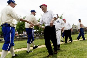 OLDBASE - Independants(cq) Kurt Begalka shakes hands with Waukesha Diamonds player Josh Enderle(cq) after an 1870's style baseball game between the Waukesha Diamonds and McHenry County, Illinois, Independants(cq) at Old World Wisconsin in Eagle, Wisconsin on Saturday, June 4, 2016. Both teams wore historically accurate baseball outfits from the year 1874. Baseball was typically played by younger, single men from the area looking to impress the ladies. CALVIN MATTHEIS/calvin.mattheis@jrn.com
