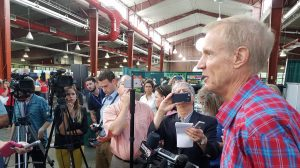 Gov. Bruce Rauner announces the State Fair Foundation at the 2016 Illinois State Fair. (INN Photo by Greg Bishop)
