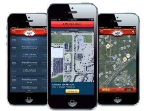 A responder map shows the location of more than 525 people who've downloaded the new PulsePoint app that alerts people who know CPR of sudden cardiac arrest victims in need of cardiopulmonary resuscitation. Advanced Medical Transport of Central Illinois launched the free app locally in late June. (Photo courtesy of Advanced Medical Transport)