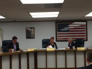 Forest Park Election Board members (from left) Village Commissioner Tom Mannix, Village Clerk Vanessa Moritz and Mayor Anthony Calderone.