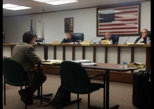 : Attorney Adam Lasker speaks to members of the Forest Park Electoral Board Sept. 8. (Photo courtesy of Jordan Kuehn).