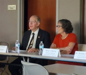 Congressman Bill Foster and additions specialist Nina Henry discuss a variety of topics pertaining to the heroin epidemic during a Sept. 26 presentation at Edward Hospital in Naperville.(Photo by Erika Wurst / for Chronicle Media)