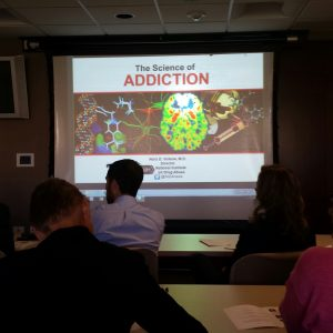 About 60 people showed up to Edward Hospital in Naperville on Sept. 26 to listen to Congressman Bill Foster and a panel of addiction experts speak about the heroin epidemic plaguing our suburban communities. (Photo by Erika Wurst / for Chronicle Media)