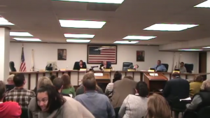 Citizens packed an Oct. 24 Village of Forest Park council meeting where commissioners voted to approve video gambling. (Photo courtesy of Steven Backman/ YouTube)