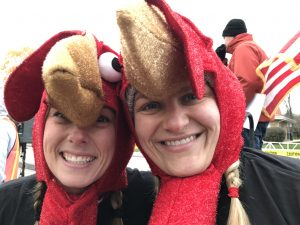 Turkey girls are Julie Glowacki (left) and Melissa Rimdzius. both from Lincolnwood. (Photo by Karie Angell Luc/for Chronicle Media)