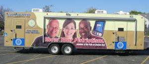"""Kane County's """"precinct on wheels'' — a mobile voting unit — made pre-election stops at eight different locations to allow early voting. (Photo courtesy of the Kane County Clerk's Office)"""