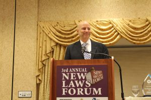 Kyle Horn, founder of the Job Honor Awards speaks in Niles at the Illinois Chamber of Commerce New Laws Forum Nov. 30. (Photo courtesy of the Illinois Chamber of Commerce)