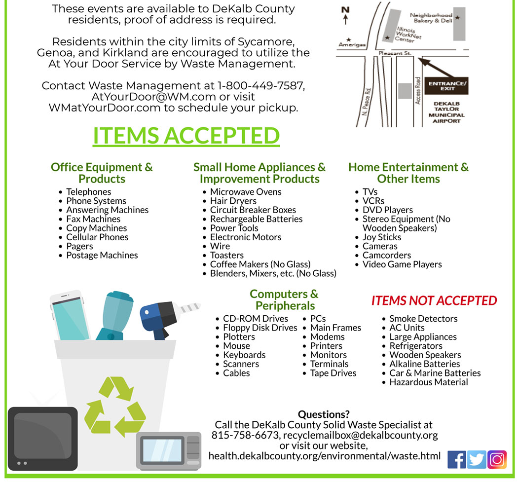 Here is the list of what the DeKalb County Health Department will accept  and reject in its upcoming collection of electronics for recycling Sept. 22.