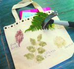 Hammer natural prints with garden leaves