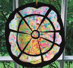 Use crayon bits to make 'stained glass window'