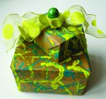Make marbleized paper at family wrap party